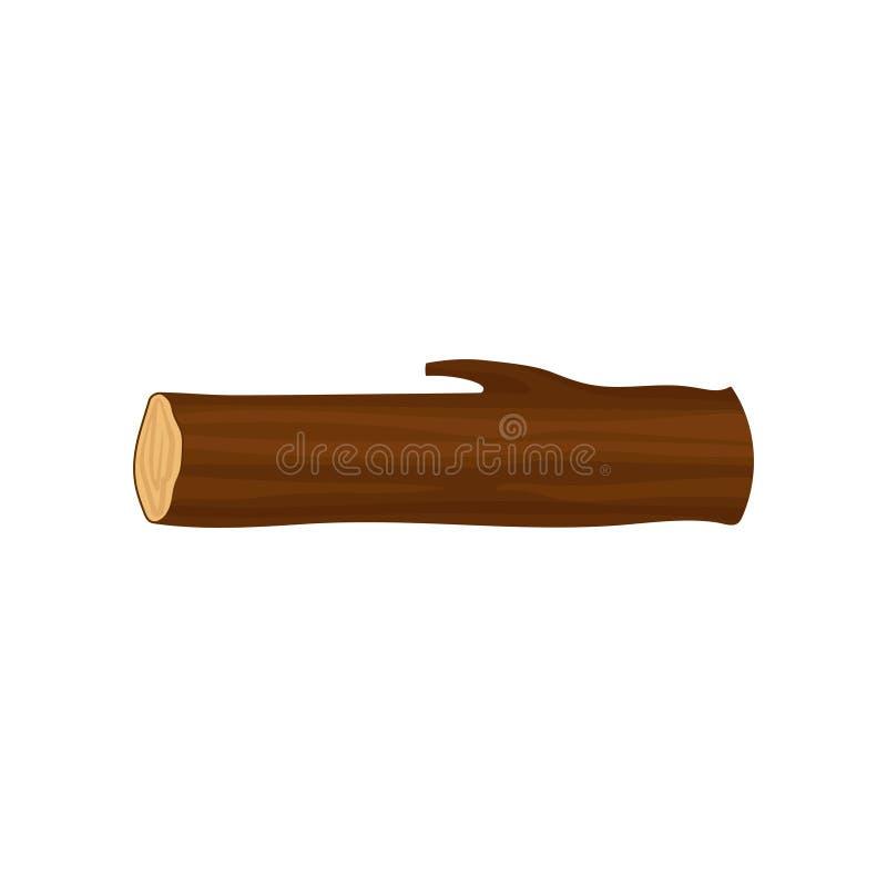 长的圆的木日志平的传染媒介象  一部分的树干 森林元素 木柴生产 向量例证