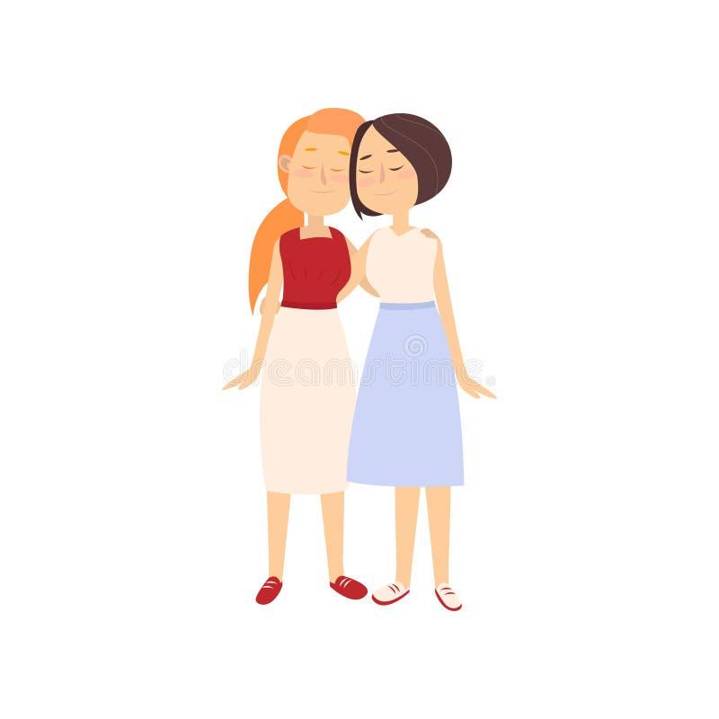 长的夏天礼服的两个愉快的女朋友拥抱 皇族释放例证