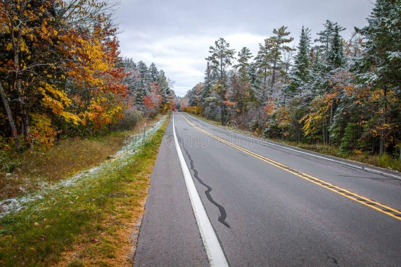长的平直的农村路通过秋天密执安森林 免版税库存照片