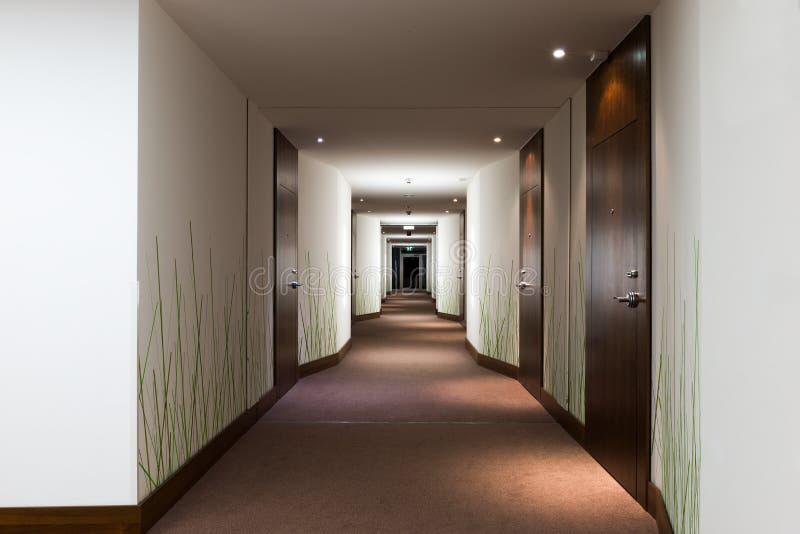 长的旅馆走廊 库存照片