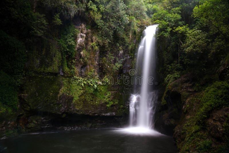长的曝光射击了美丽的Kaiate瀑布在新西兰 库存图片