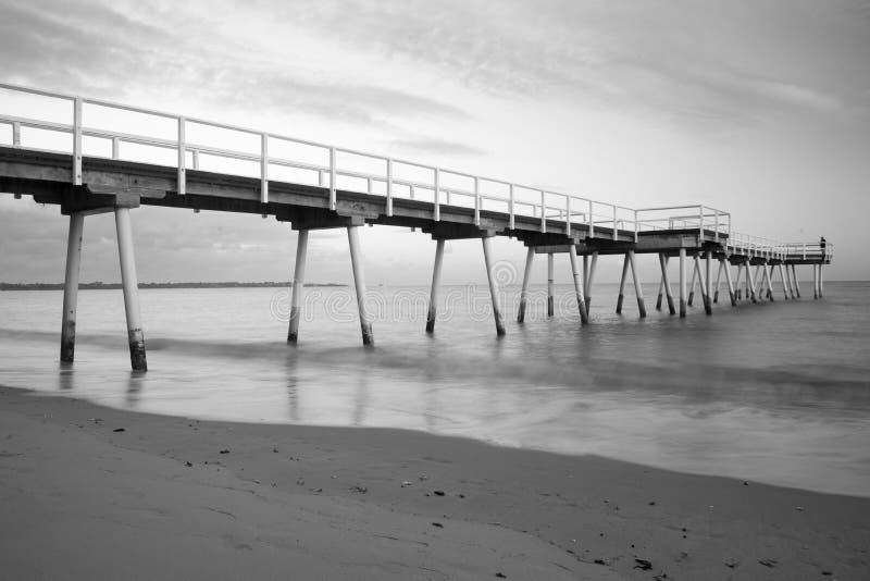长的曝光射击海滩跳船 免版税图库摄影