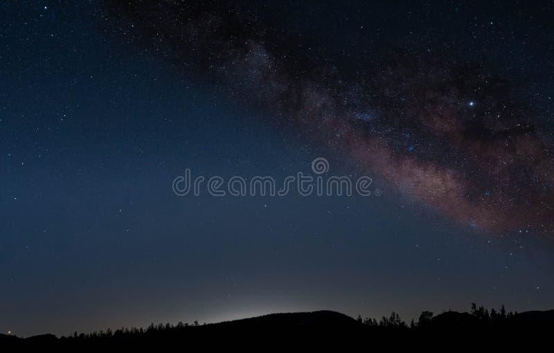 长的曝光银河在科罗拉多 免版税库存图片