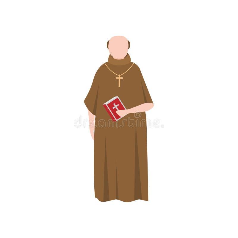 长的棕色衣裳的宽容中世纪教士人 向量例证