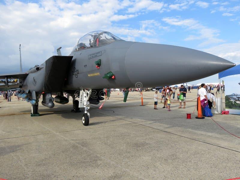 长的灰色F15老鹰空中优势喷气式歼击机 库存照片