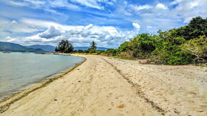 长的热带海滩 库存照片