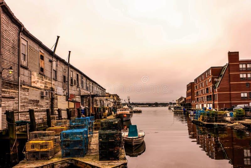 长的码头在波特兰,缅因 库存照片