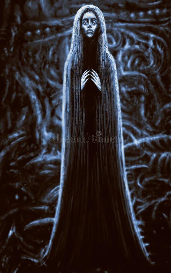 长的礼服的女巫 背景看板卡祝贺邀请 库存例证