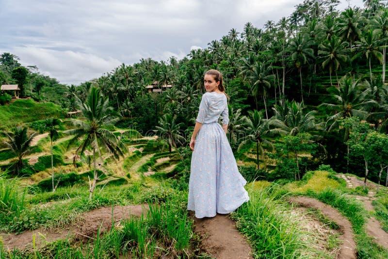 长的礼服的妇女在巴厘岛享受米大阳台视图 库存照片