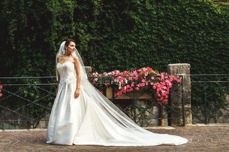长的礼服的美丽的性感的深色的新娘走在老wal附近的 库存照片