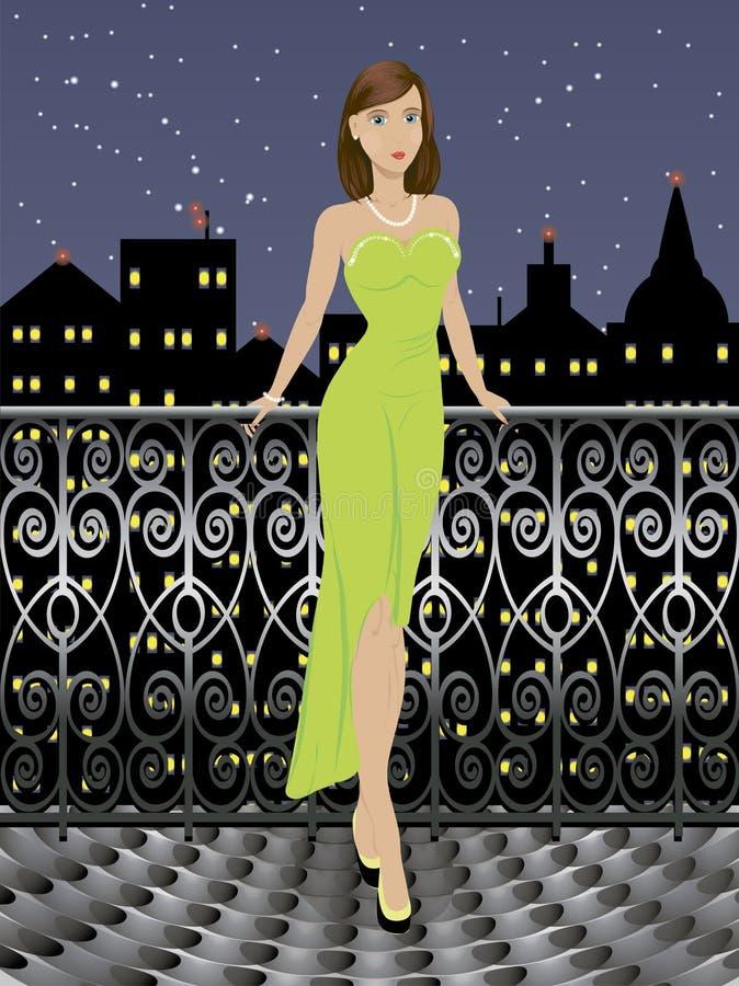 长的礼服的年轻时尚女孩 皇族释放例证