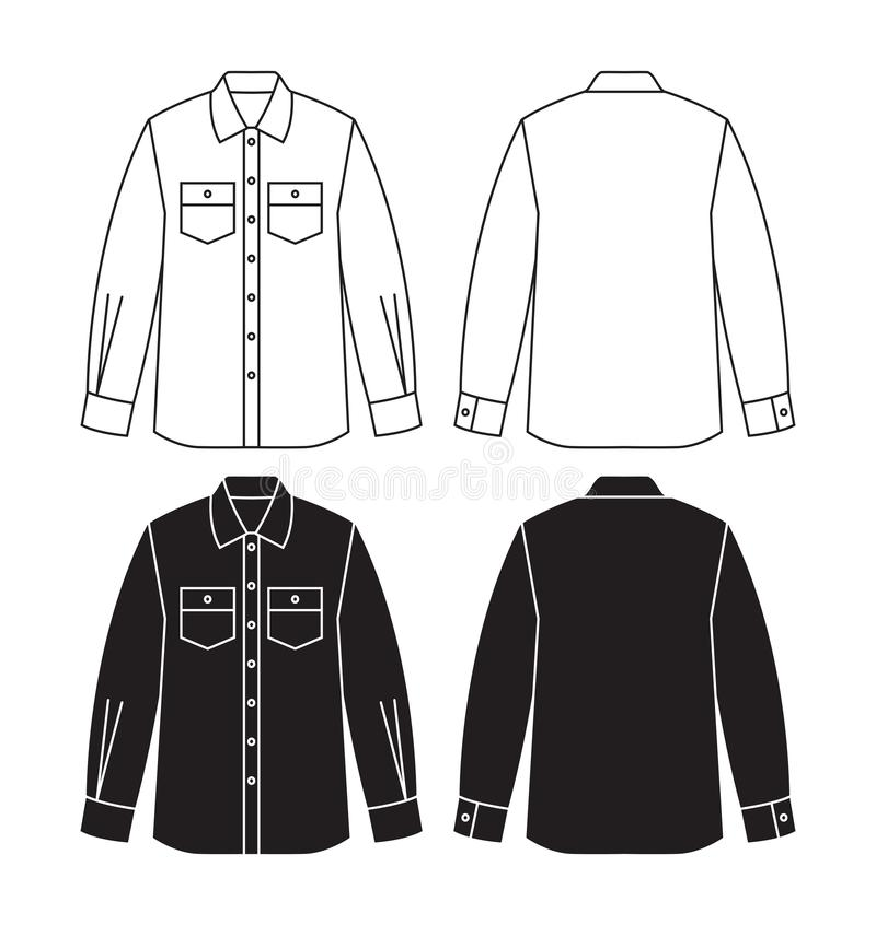 长的衬衣传染媒介设计有袖子的 库存例证
