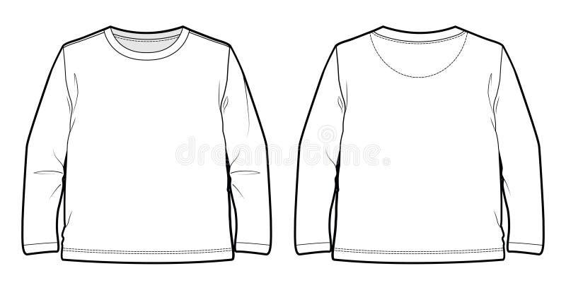 一件长袖的t恤杉的前面和后面看法 id. 93612721 | dreamstime.