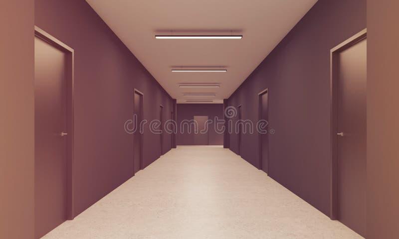 长的走廊在办公室,被定调子 皇族释放例证