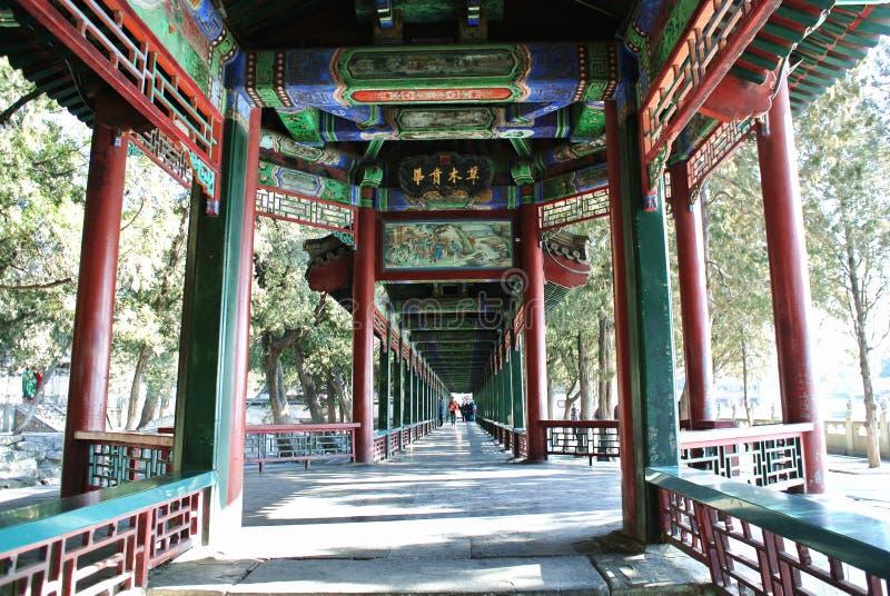 长的走廊在颐和园 免版税库存图片