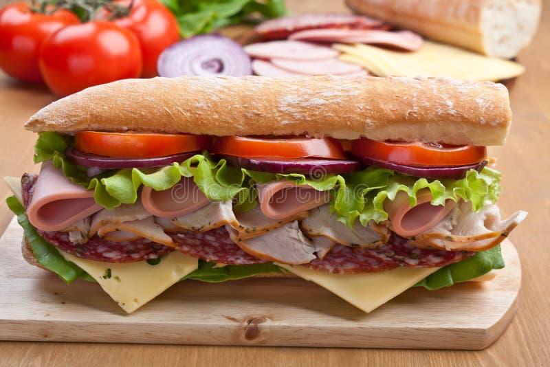 长的长方形宝石三明治用肉和菜 图库摄影