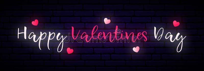 长的霓虹横幅与在黑暗的砖墙上的题字愉快的情人节 向量例证