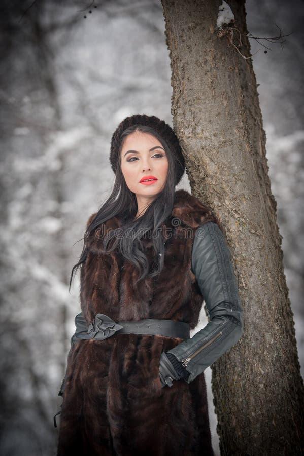 长的黑毛皮大衣和盖帽的美女享受在森林深色女孩摆在的冬天风景 图库摄影