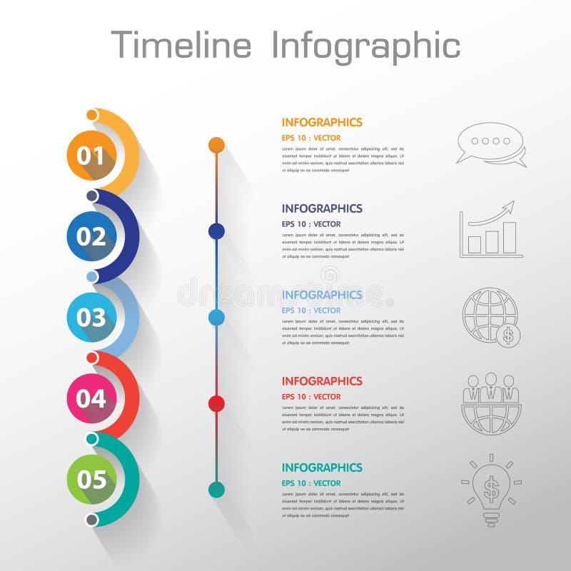 长的阴影设计干净的数字时间安排模板/图表或者网 向量例证