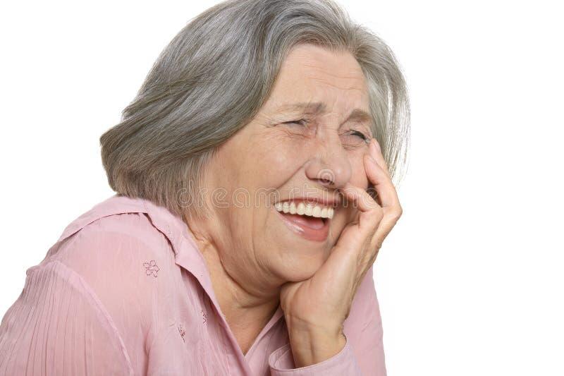 年长笑的妇女 库存图片