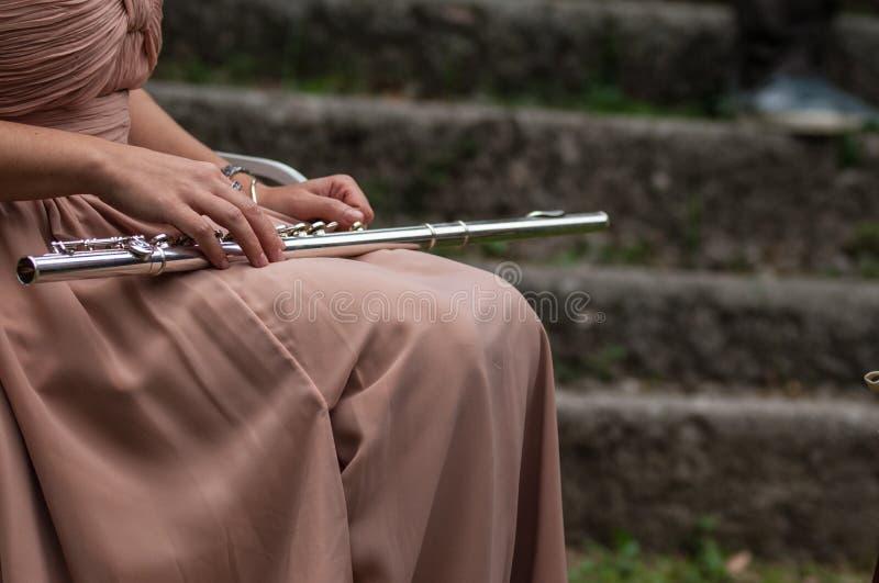 长笛的音乐家 图库摄影