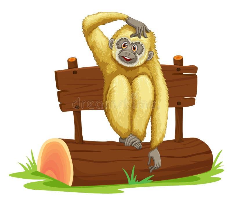 长臂猿坐日志 库存例证
