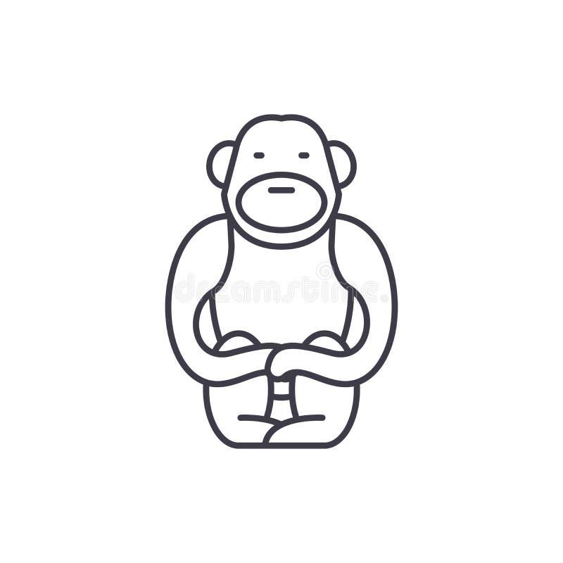 长臂猿线象概念 长臂猿传染媒介线性例证,标志,标志 向量例证