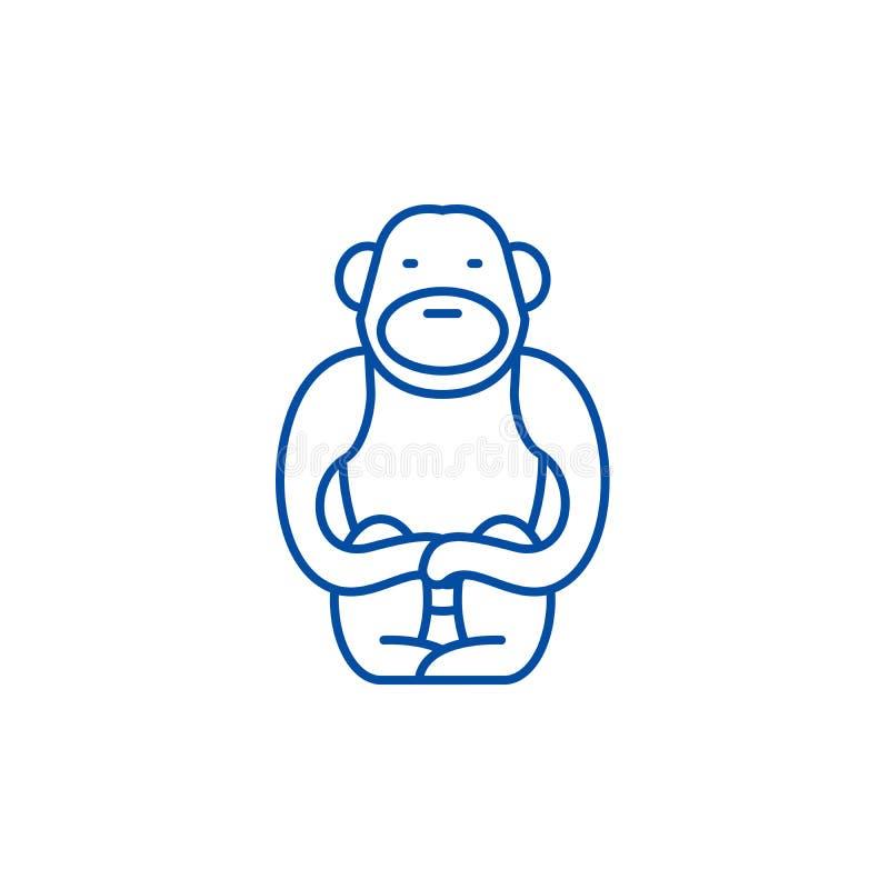 长臂猿线象概念 长臂猿平的传染媒介标志,标志,概述例证 向量例证