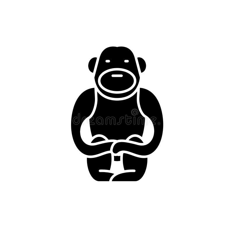 长臂猿黑色象,在被隔绝的背景的传染媒介标志 长臂猿概念标志,例证 向量例证