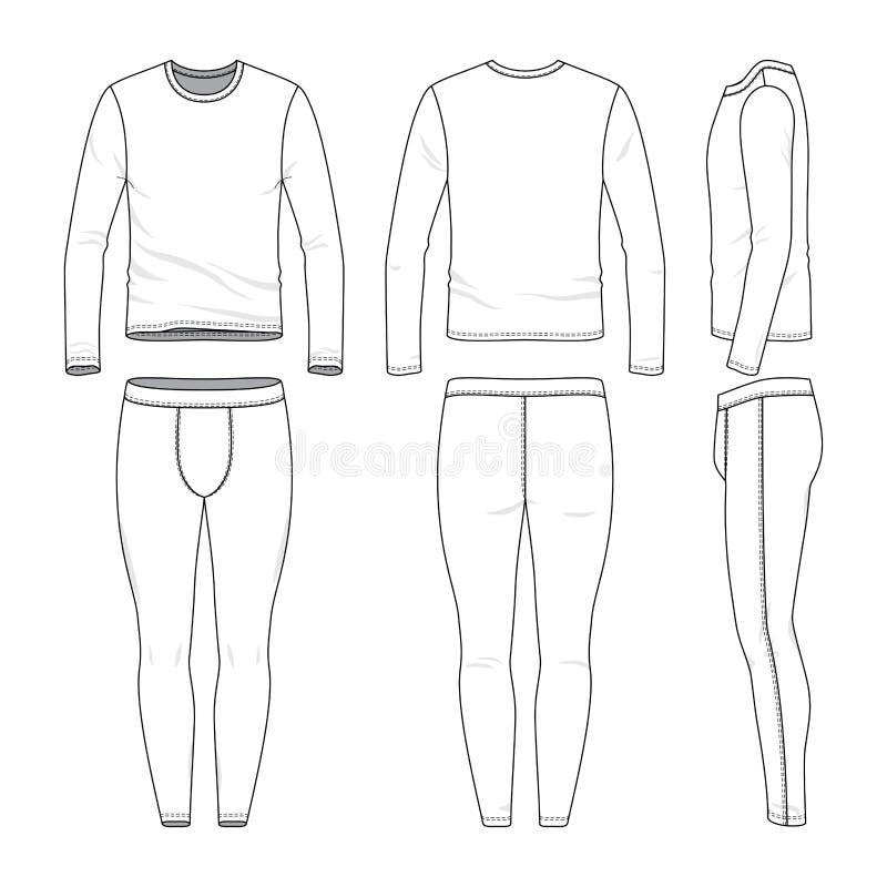 长袖衬衣和训练贴身衬衣 库存例证