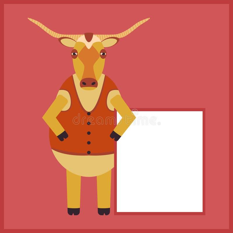 长角滑稽的公牛,摆着一张白色广告海报 质朴平动牛角色 背心长角 库存例证