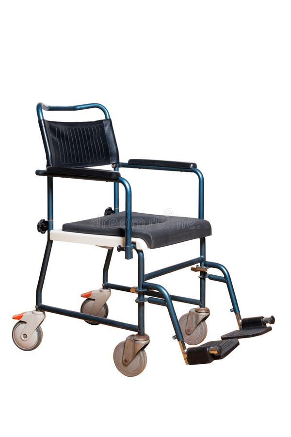 长辈的洗脸台椅子 有洗手间篮子的轮椅残疾人的 免版税库存图片