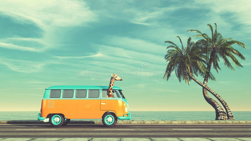长颈鹿乘在高速公路的汽车 库存例证