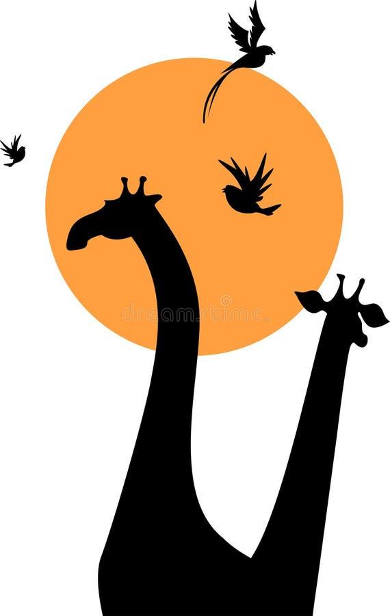 长颈鹿剪影 皇族释放例证