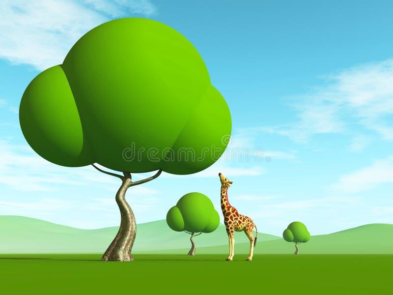 长颈鹿和树 免版税库存照片