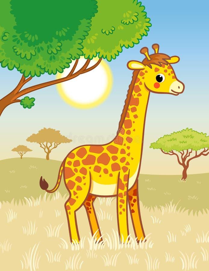 长颈鹿在大草原站立 在动画片样式的逗人喜爱的非洲动物 皇族释放例证