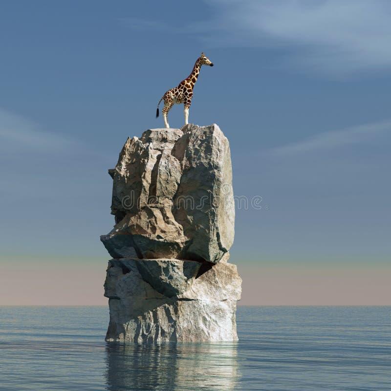 长颈鹿在海洋 向量例证
