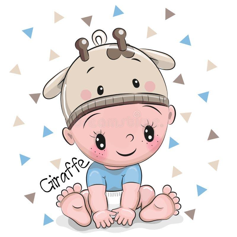 长颈鹿帽子的逗人喜爱的动画片男婴 皇族释放例证