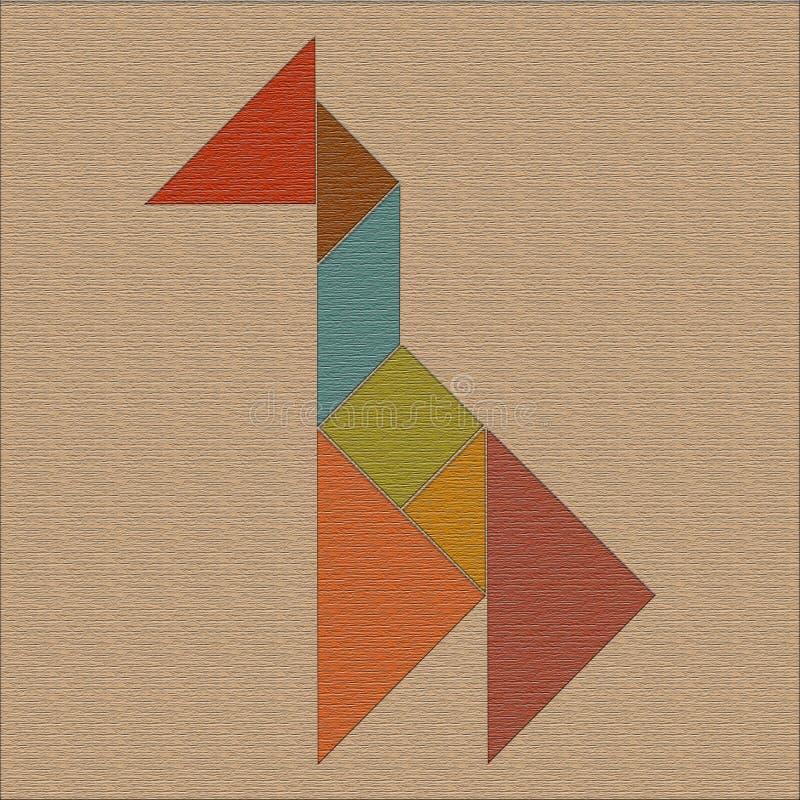 长颈鹿由几何形状做成,七巧板,与textu的背景 向量例证