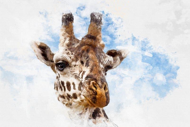 长颈鹿画象混合画法 皇族释放例证