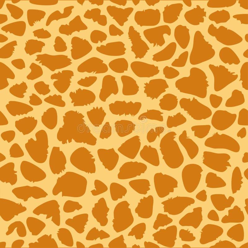 长颈鹿皮肤纹理,无缝的样式,重复橙色和黄斑,背景,徒步旅行队,动物园,密林 向量 库存例证