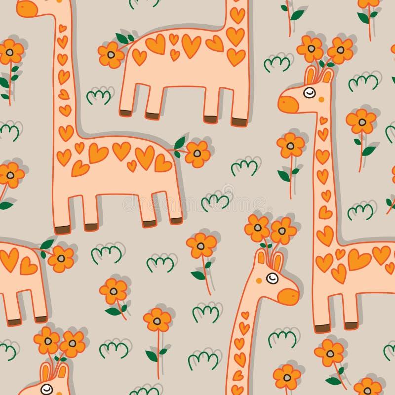 长颈鹿花无缝的样式 库存例证