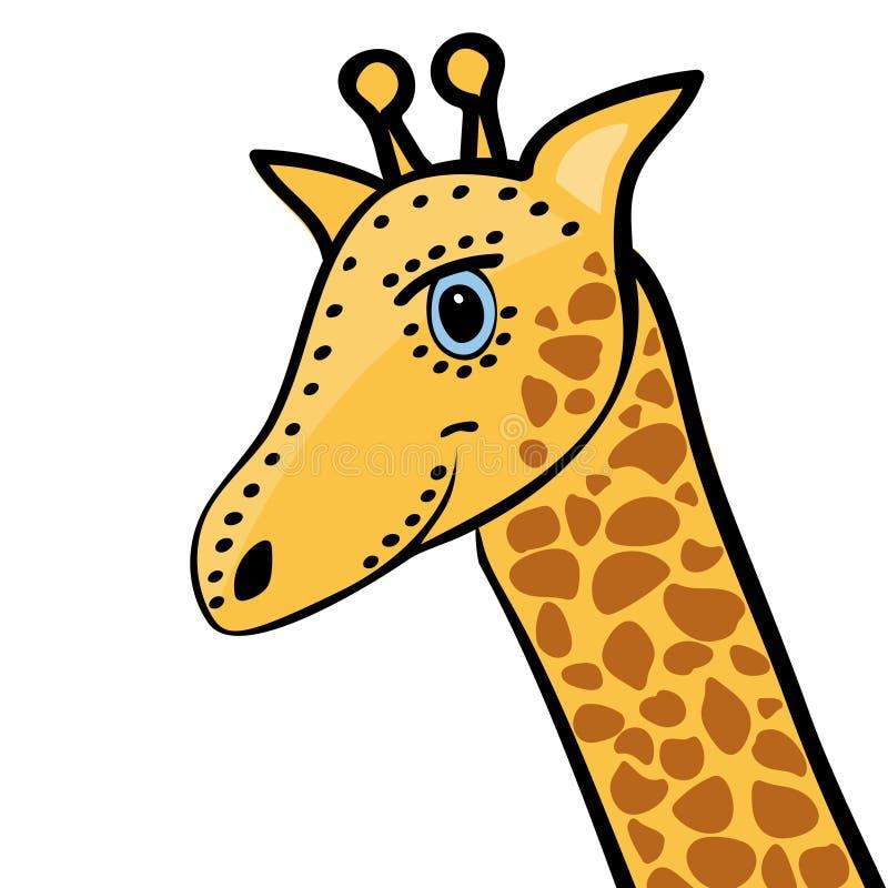 长颈鹿逗人喜爱的滑稽的动画片头 皇族释放例证