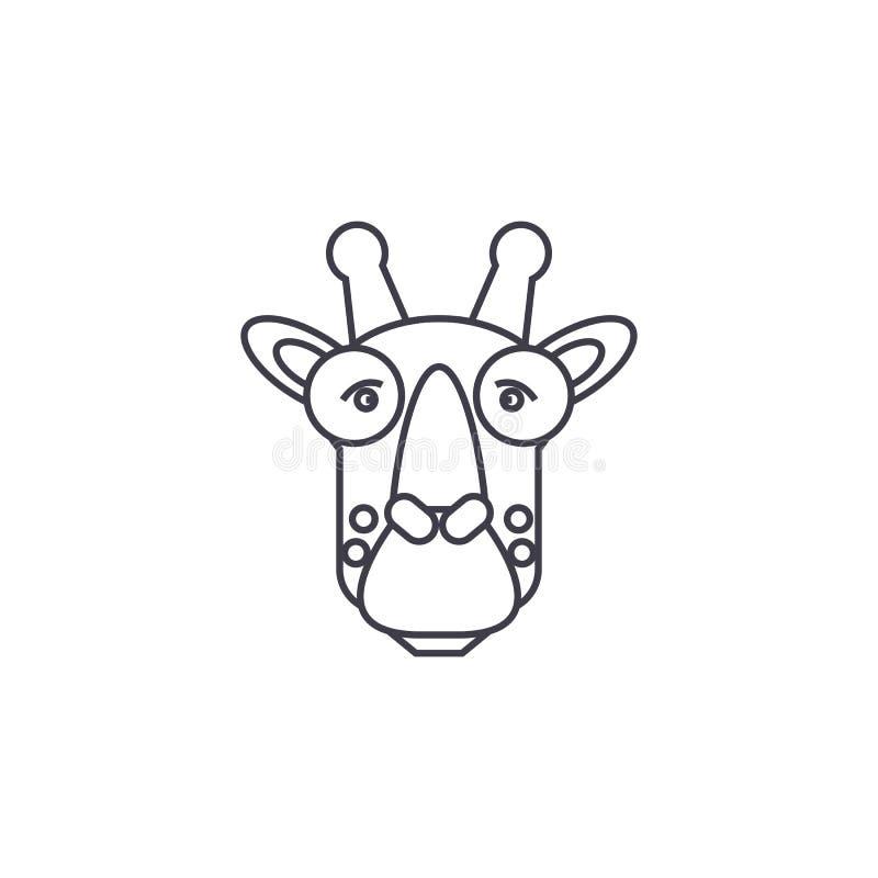 长颈鹿顶头传染媒介线象,标志,在背景,编辑可能的冲程的例证 皇族释放例证