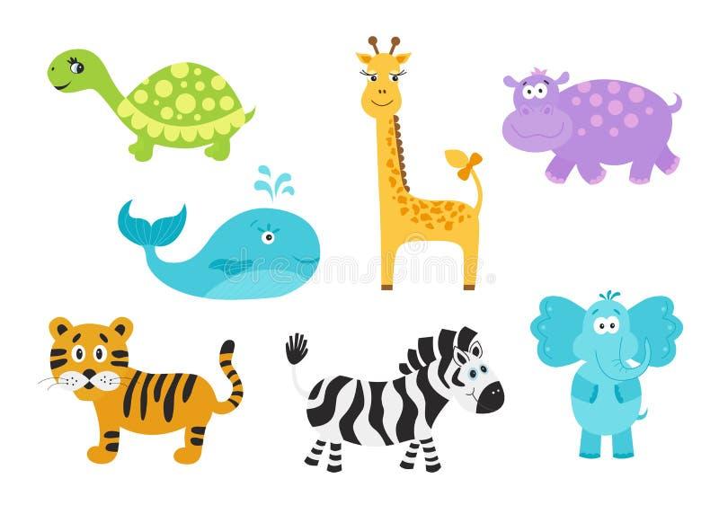 长颈鹿,大象,河马,乌龟;老虎;斑马;婴孩的鲸鱼 向量例证