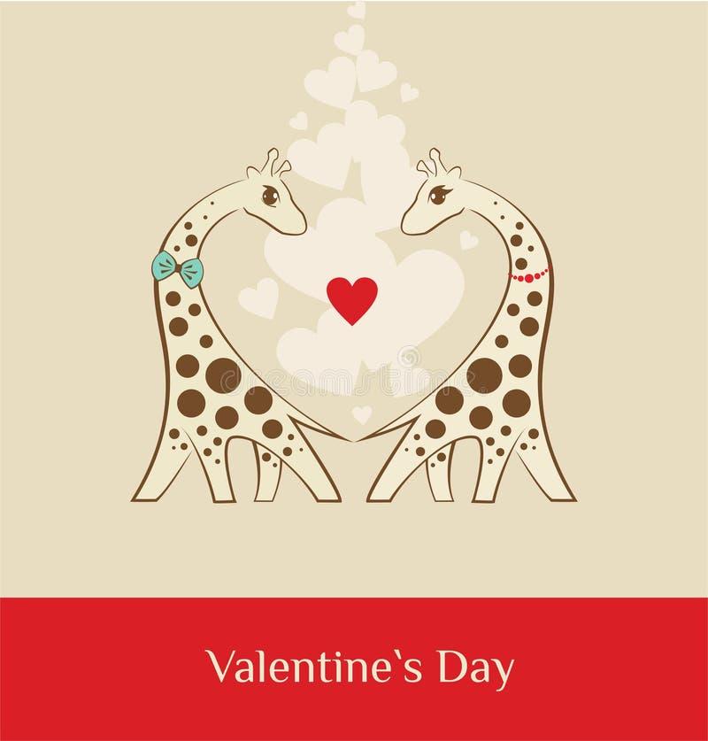 长颈鹿-情人节褐色 库存照片