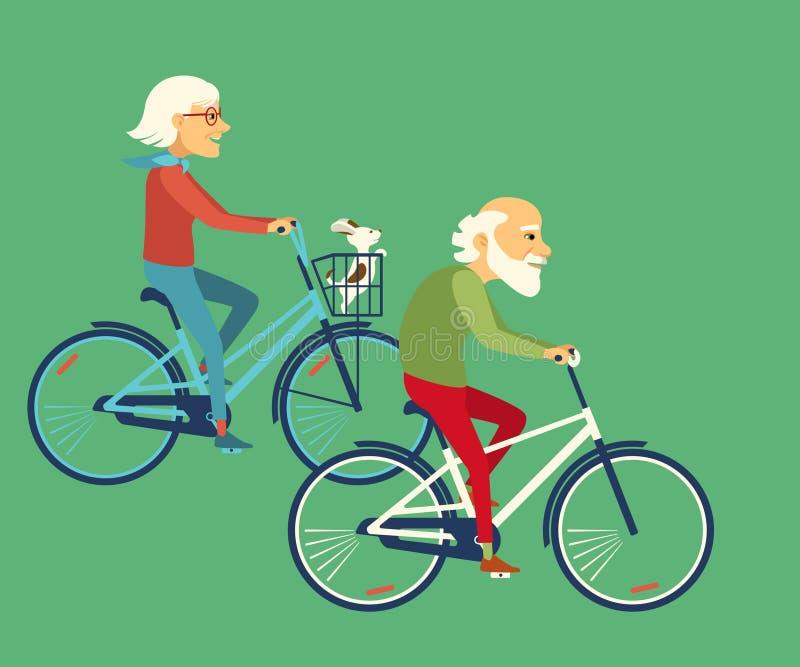 年长骑马自行车 夫妇骑马自行车 库存例证
