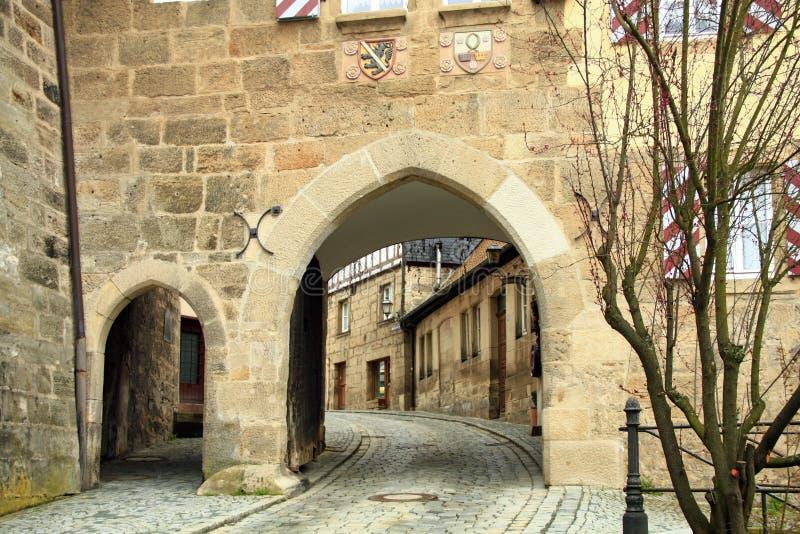 门中世纪城镇 库存照片