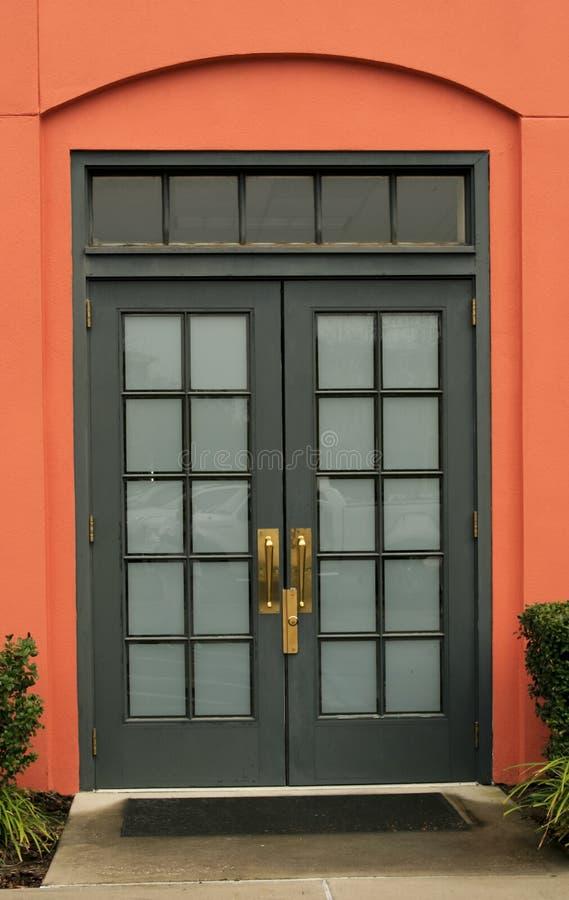 门双玻璃镶板了 免版税库存图片