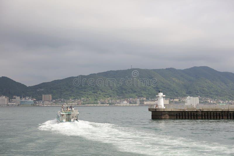 门司ku,北九州看法船的市 免版税图库摄影